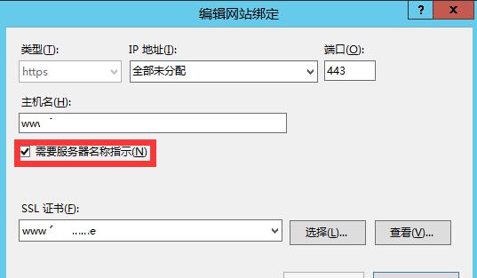 需要服务器名称指示(N)