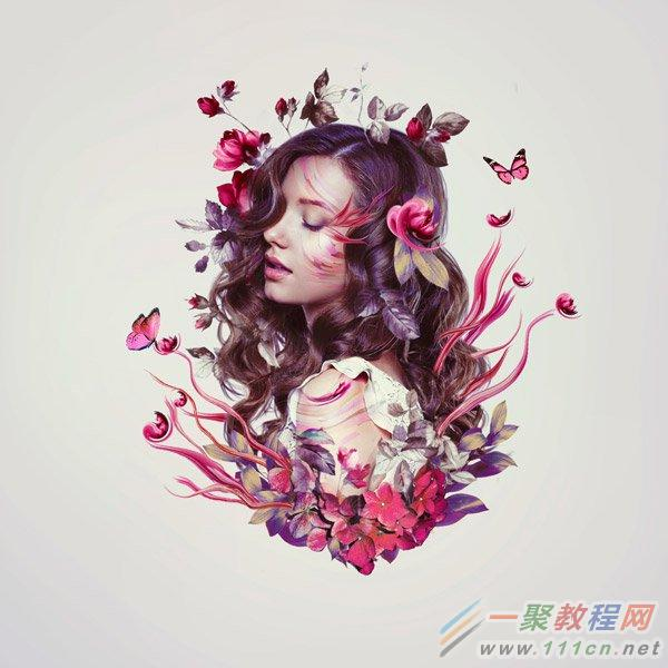 photoshop利用花卉素材合成一张时尚人像照片效果