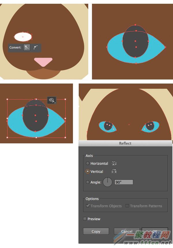 illustrator绘制六个扁平化风格卡通小动物肖像教程