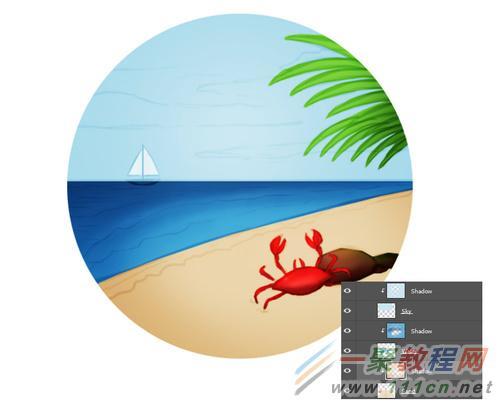 阳光沙滩手绘图